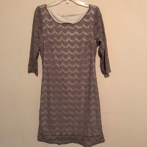 Free People Mauve Lace Shimmer Dress